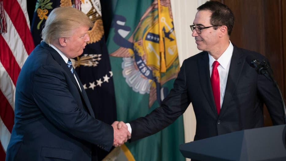 President Trump Meets with Treasury Secretary Mnuchin at Treasury Department