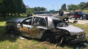 Hapeville police officer injured in car wreck on I-85