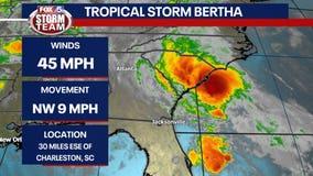 Bertha forms, hits South Carolina coast, dissipates in a day