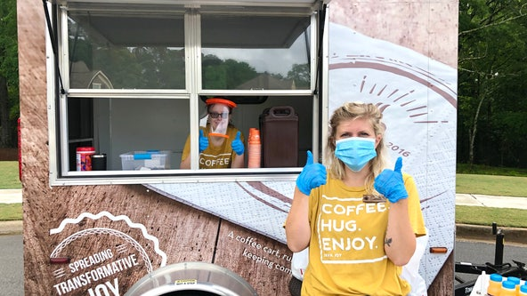 More than just coffee: Nonprofit mobile coffee cart offers air hugs and joy