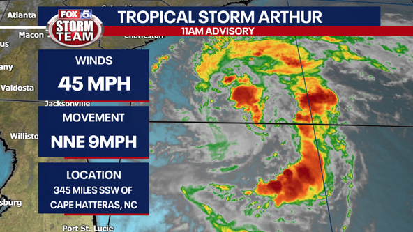 Tropical Storm Arthur strengthening off Florida coast