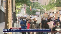 Peaceful protest march in downtown Atlanta