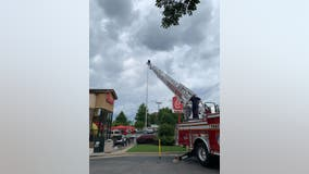 Firefighters called out to help keep 'Old Glory' flying at Georgia Chick-fil-A