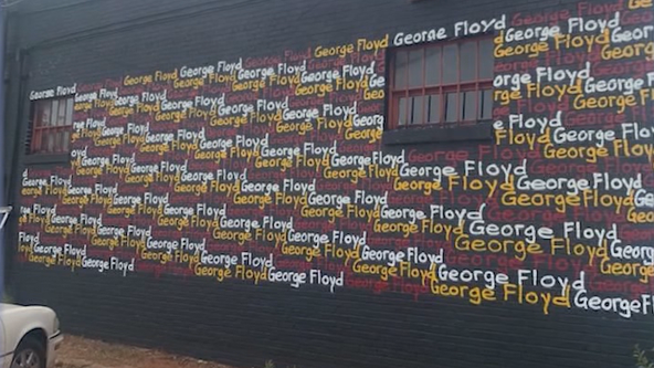 Mural honoring George Floyd goes up in southwest Atlanta