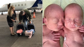 Eight weeks later, premature twins fly home to St. Petersburg from Utah with help of private jet