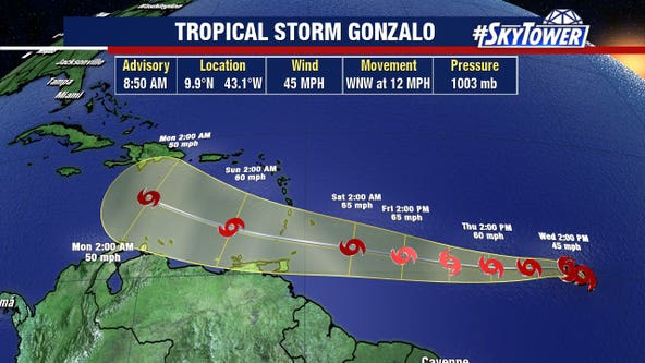Tropical Storm Gonzalo forms in Atlantic Ocean