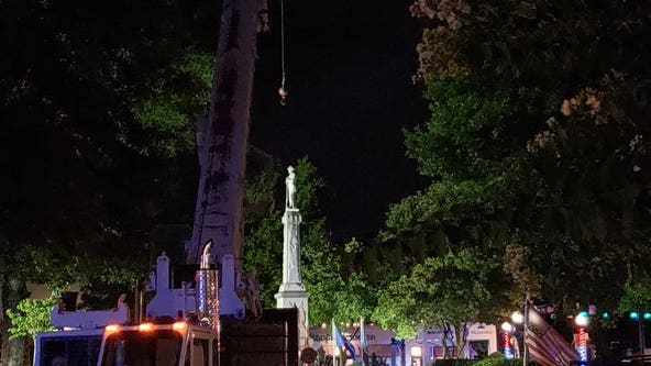Crews removing Confederate monument from McDonough Square