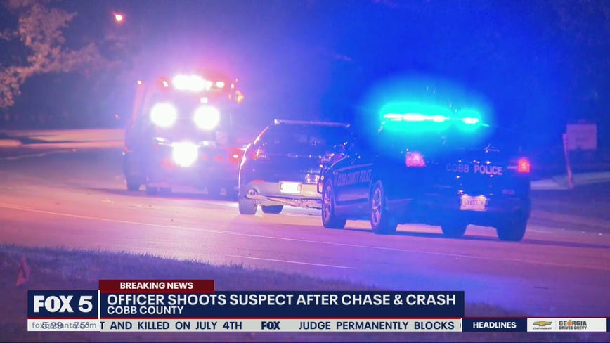 Car theft suspect hospitalized after police shooting in Cobb County