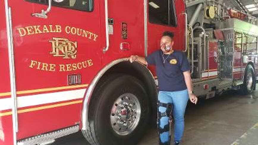 Firefighter injured in blaze says she knew her fellow firefighters would rescue her