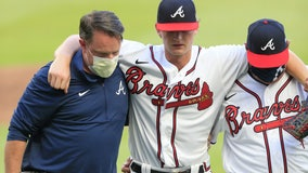 Braves ace Mike Soroka leaves game with injured right leg, out for season