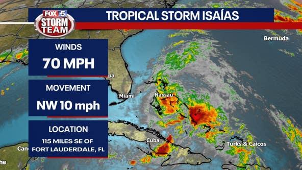 Tropical Storm Watch for Georgia coast, Isaías downgraded to a Tropical Storm