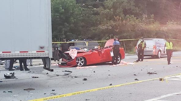 GSP: 1 dead, 1 seriously injured after car slides under tractor-trailer