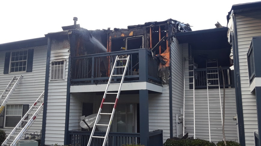 Large fire at Gwinnett County apartments, firefighters on scene