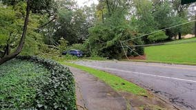 Downed trees, flooded road in Buckhead after storm reaches Georgia