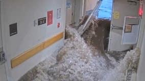 Video shows moment raging flood breaking through emergency doors causing Massachusetts hospital closure