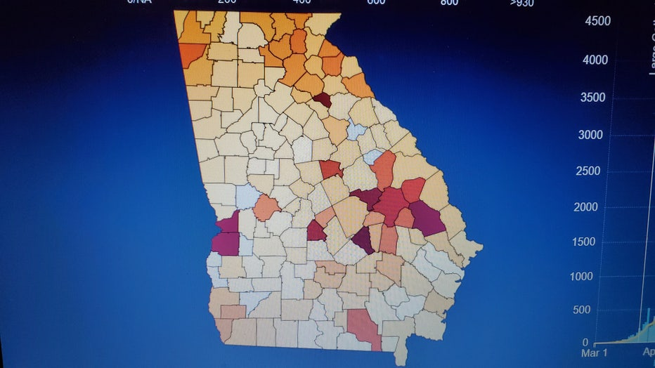 Map of the state of Georgia highlights a handful of counties with high coronavirus case averages.