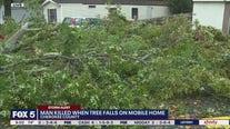 Tree falls on mobile home, kills man