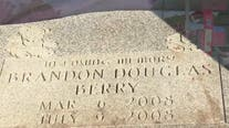 Infant's headstone found abandoned at Mableton gas station
