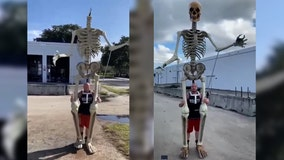 Florida man turns giant Home Depot skeleton into puppet