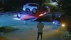 Car flipped in possible street racing accident in Atlanta neighborhood