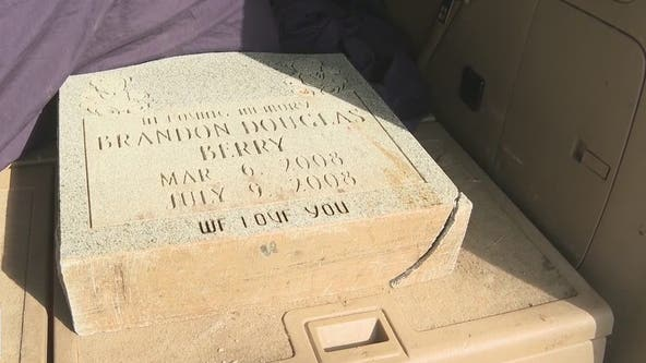 Family reunited with lost headstone for infant