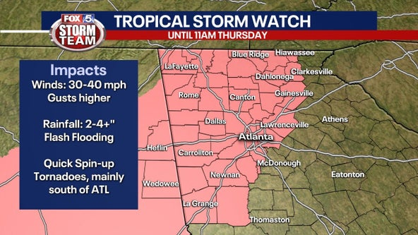 Tropical Storm Watch issued for north Georgia as Zeta begins to restrengthen, turns north