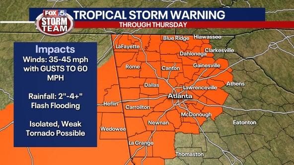 Tropical Storm Warning for North Georgia as Zeta makes landfall in Louisiana