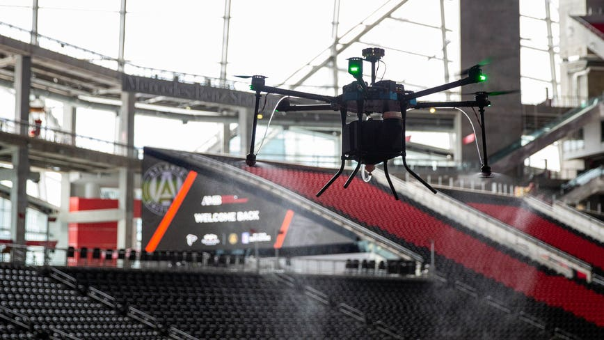 Mercedes-Benz Stadium adds drones to sanitization program
