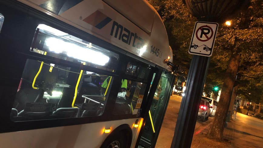 Car flips over, crashes into MARTA bus, one person arrested