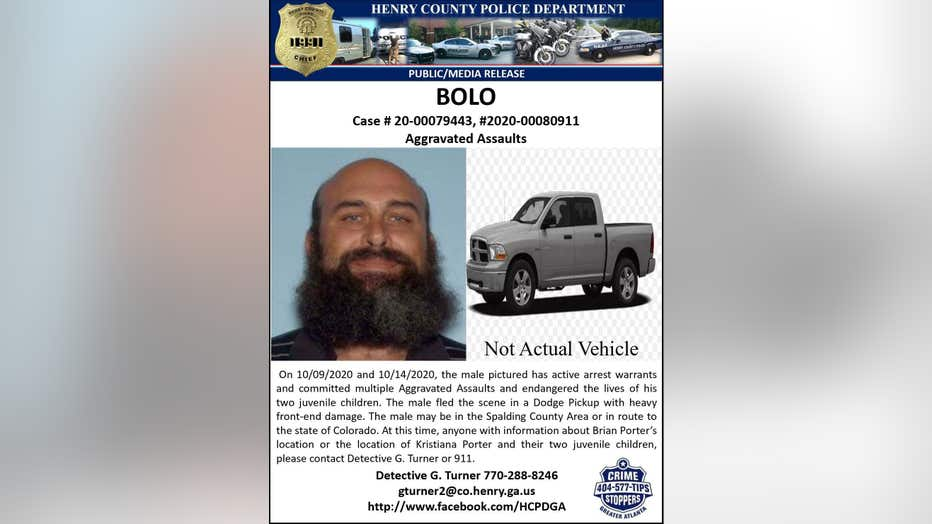 Henry County Police Department BOLO Brian Porter