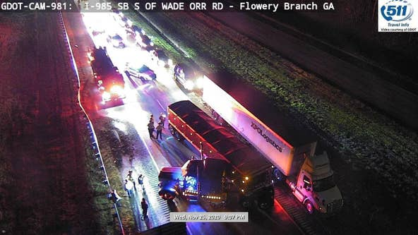 Diesel fuel spill blocks I-985 southbound lanes in Hall County