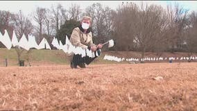 White flags planted in Piedmont Park as tribute to Georgians who have died from COVID-19