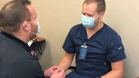 EMS worker proposes to nurse during COVID-19 vaccine appointment