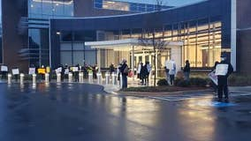 Cobb County teachers protest outside board meeting after COVID-19 deaths