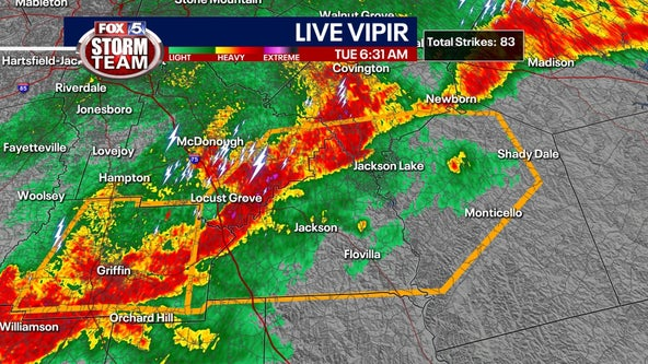 Severe thunderstorm warning issued for parts of central Georgia