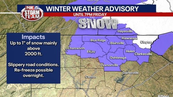 Winter Weather Advisory for parts of north Georgia, cold rain elsewhere
