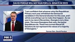 Former Senator David Perdue announces he will not run in 2022