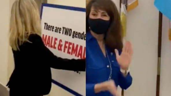 Marjorie Taylor Greene puts up anti-transgender sign outside office in feud with Illinois congresswoman