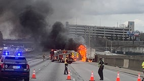 Tractor trailer fire causes delays on I-285 EB lanes during evening commute