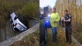 Georgia officer, Good Samaritan rescue man trapped in vehicle