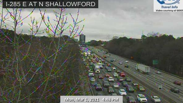 Vehicle fire causing delays on I-285 EB lanes