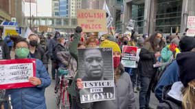 Protesters march through downtown Minneapolis as jury deliberates