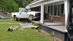 Home, family business damaged after driver veers off the road