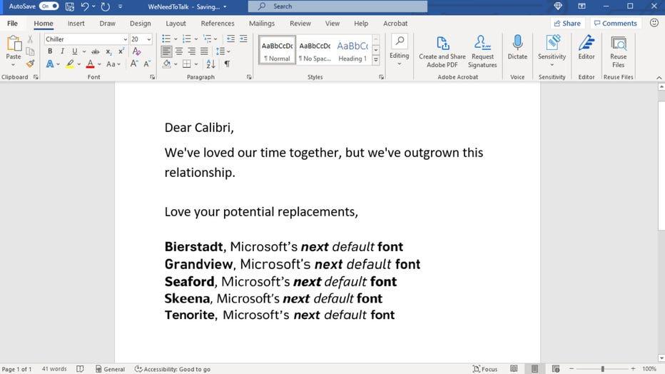 Calibri breakup letter