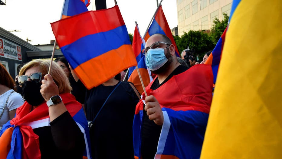 Protest outside the Azerbaijani Consulate General against Azerbaijan's aggression against Armenia and Artsakh by the Armenian Youth Federation.