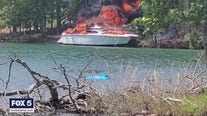 Video shows massive boat fire at Lake Lanier