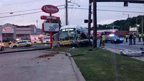 Multi-vehicle crash involving MARTA bus sends 1 to hospital