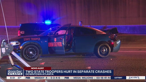 State troopers hurt in separate wrecks on Downtown Connector