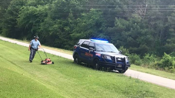 Georgia state trooper helps Oglethorpe County man cut grass after fall