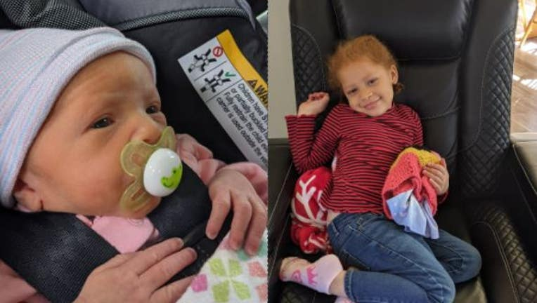 Sage, 3-months-old (left), and Violet Dowell, 3-years-old (right). Source: Griffin Police Department